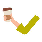 Woman arm, hand holding coffee cup, breakfast, morning energy boost