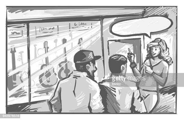woman asking two men to go to the guitar store. - storyboard stock illustrations
