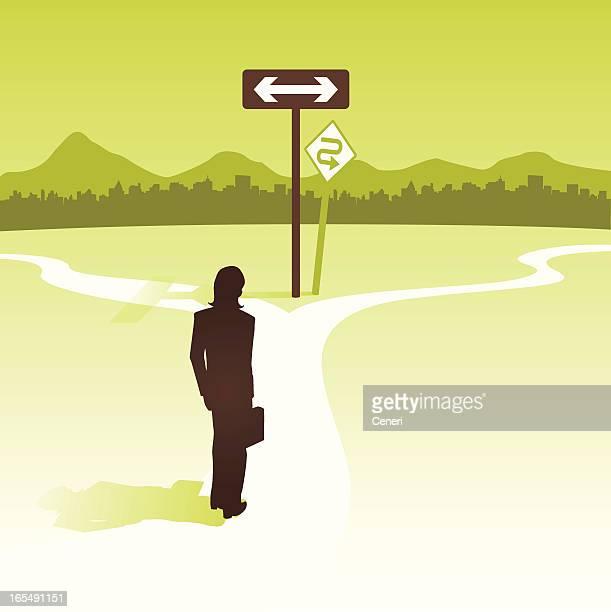 女性の交差点で彼女のキャリアパスを決定する - 分かれ道点のイラスト素材/クリップアート素材/マンガ素材/アイコン素材