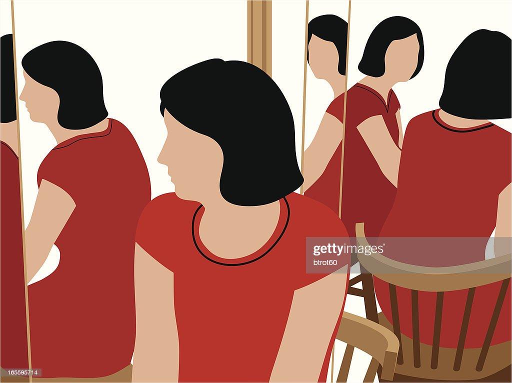 Woman at Three-Way Mirror
