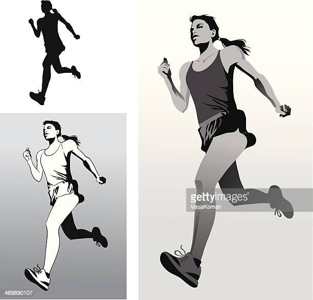 woman athlete running in black and white - women's track stock illustrations, clip art, cartoons, & icons