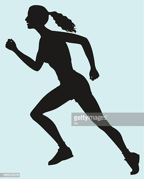 woman athlete starting a race - women's track stock illustrations, clip art, cartoons, & icons