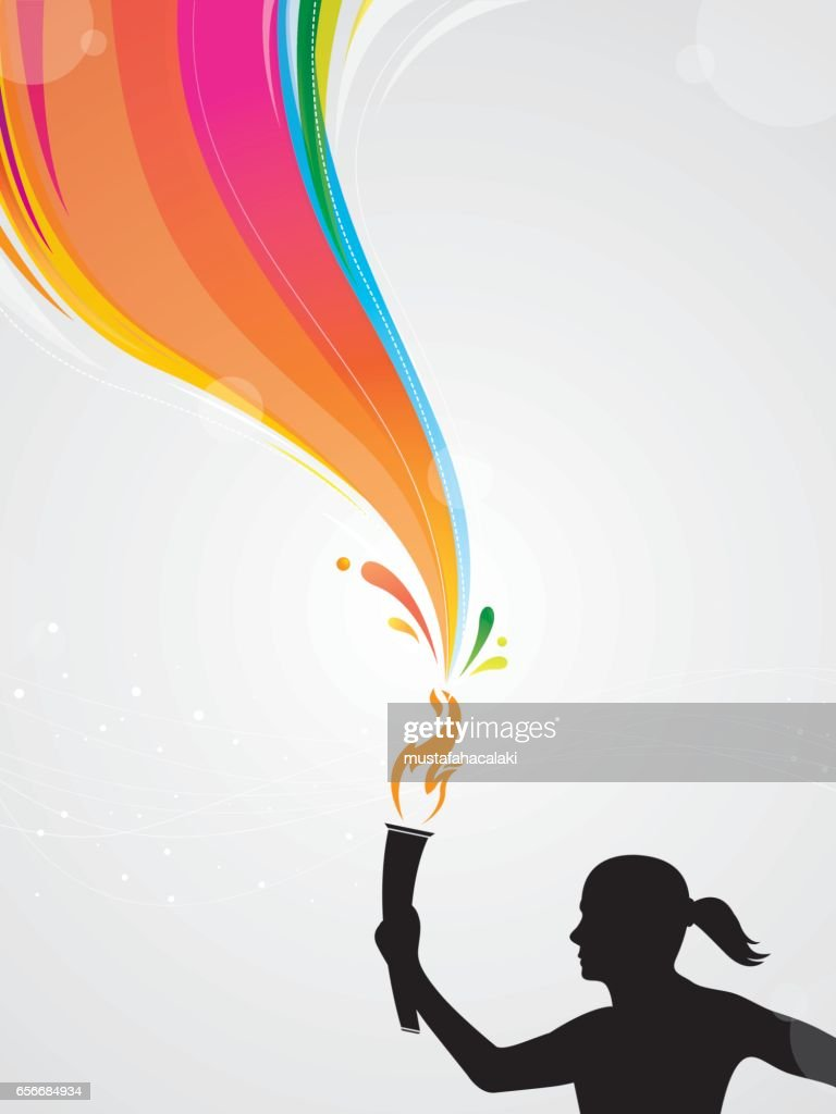Woman athlete with torch : stock illustration