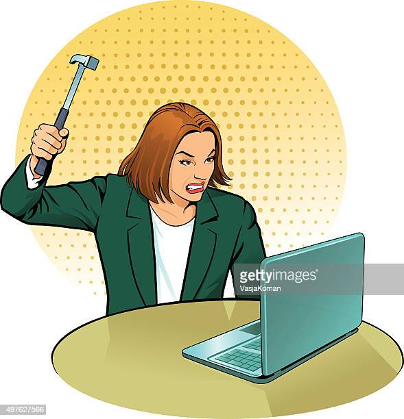 Woman Attacking Computer With Hammer
