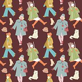 Woman Autumn Retro Fashion Seamless Pattern