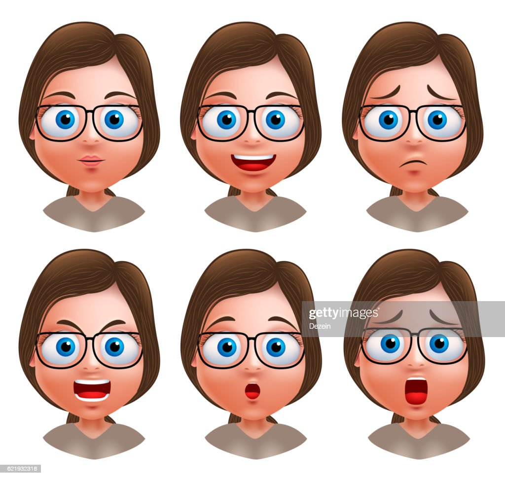 Woman avatar vector character nerd girl heads with facial expressions