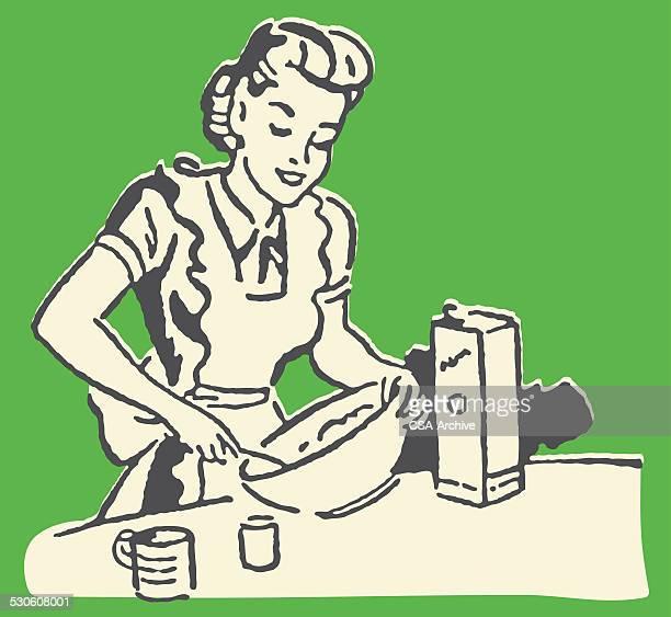 woman baking - baked stock illustrations, clip art, cartoons, & icons