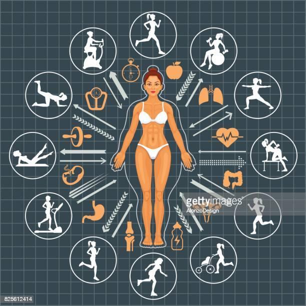 frau vor und nach dem fitness - sprint sport wettbewerbsform stock-grafiken, -clipart, -cartoons und -symbole