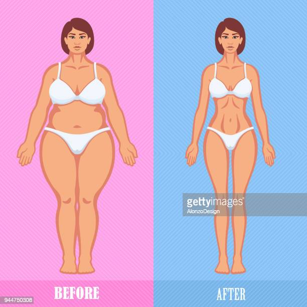 woman before and after weight loss - conversion sport stock illustrations
