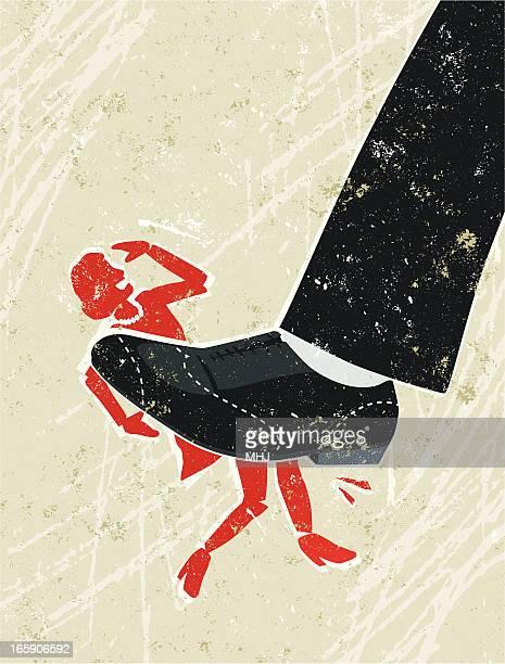 ilustrações, clipart, desenhos animados e ícones de mulher sendo esmagada em um grande homem de pé - crime