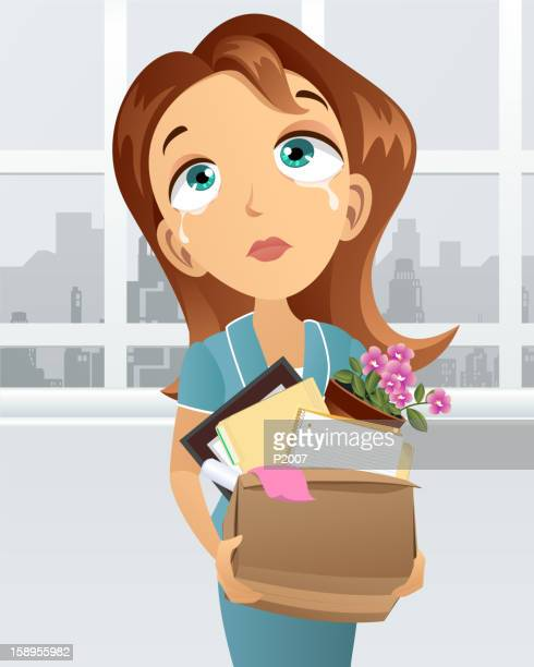 woman being layoff - downsizing unemployment stock illustrations, clip art, cartoons, & icons