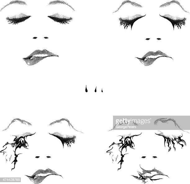 woman biting lip - eye make up stock illustrations, clip art, cartoons, & icons