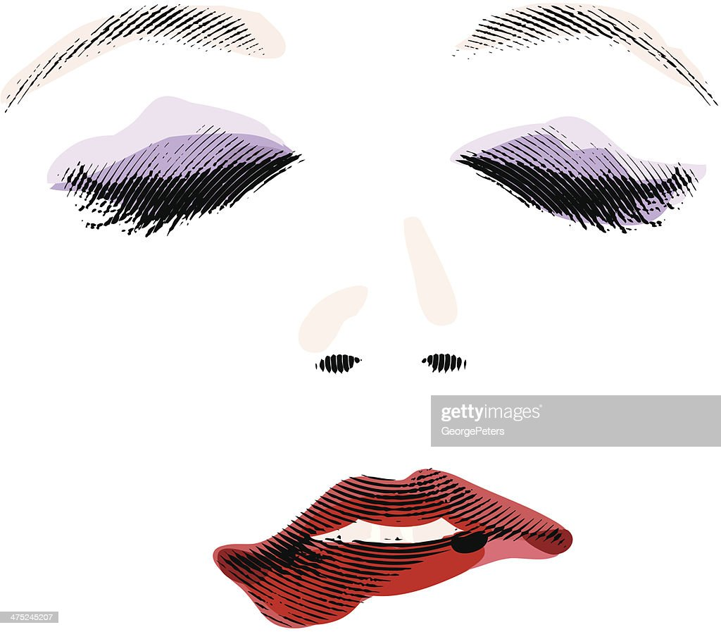 Mujer morder el labio : Ilustración de stock