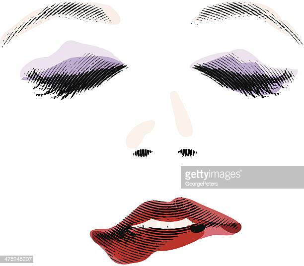 woman biting lip - sex and reproduction stock illustrations, clip art, cartoons, & icons