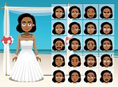 Woman Black Bride Cartoon Emotion faces Vector Illustration