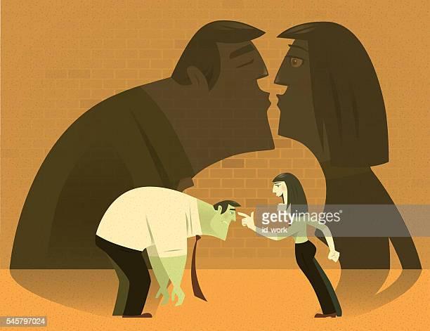 illustrations, cliparts, dessins animés et icônes de woman blaming businessman - se disputer