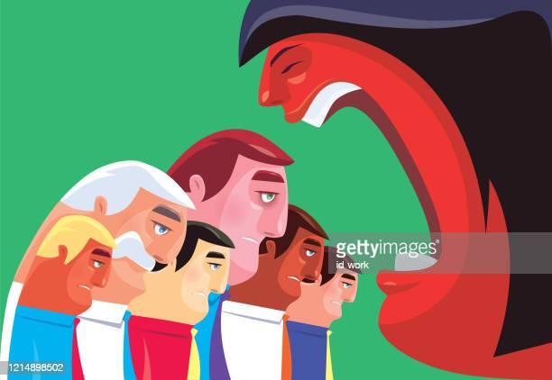 ilustraciones, imágenes clip art, dibujos animados e iconos de stock de mujer culpando tristes hombres de negocios - bullying