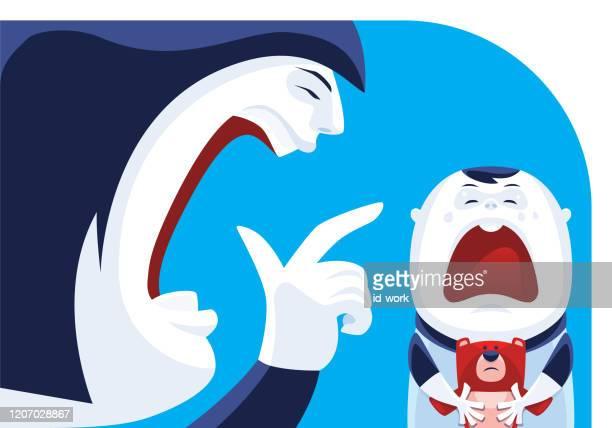 ilustraciones, imágenes clip art, dibujos animados e iconos de stock de mujer culpando al bebé llorando - maltrato infantil