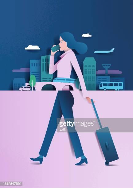 女性の出張 - ファーストクラス点のイラスト素材/クリップアート素材/マンガ素材/アイコン素材
