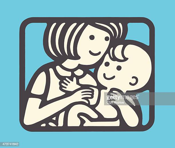 woman caring for a baby - nanny stock illustrations