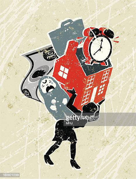woman carrying responsiblities on her back - new home stock illustrations, clip art, cartoons, & icons
