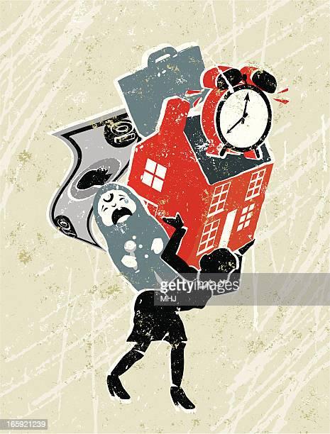 ilustraciones, imágenes clip art, dibujos animados e iconos de stock de mujer llevando responsabilidades en la espalda - madre trabajadora