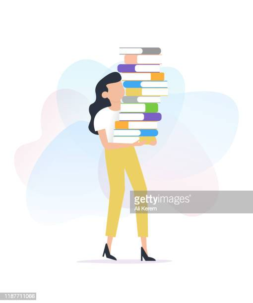 woman carrying stack of books - one young woman only stock illustrations