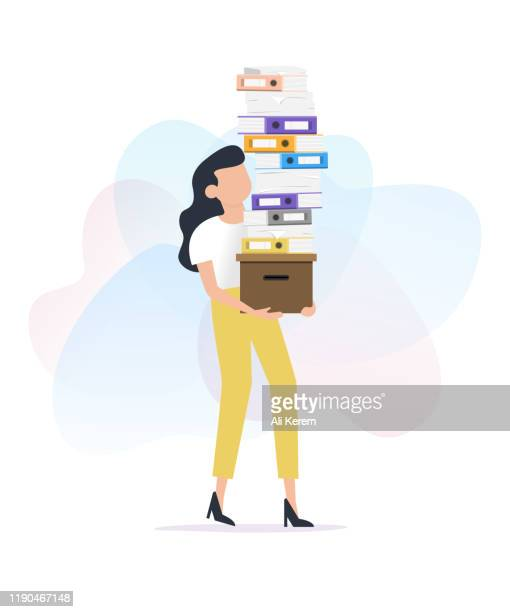 woman carrying stack of paper works - excess stock illustrations