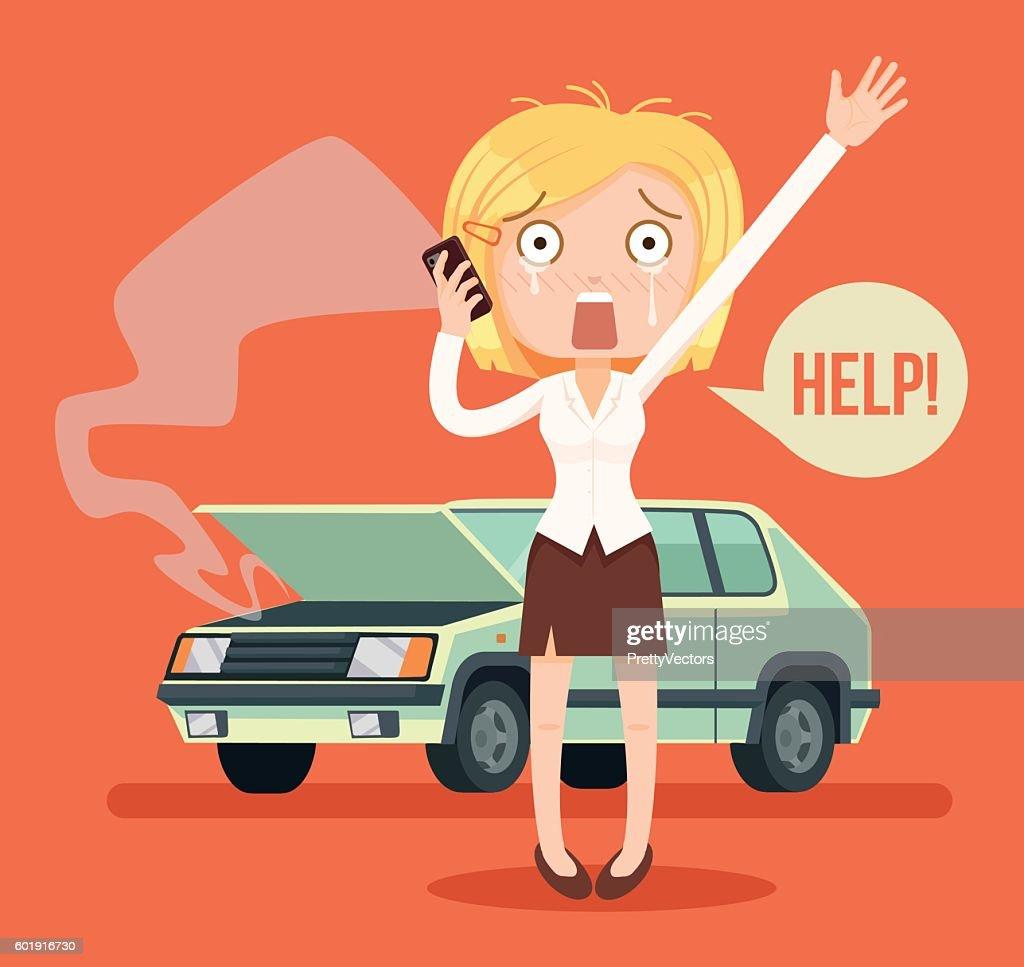 Woman character crying calling after car crash