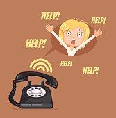 Woman character need help. Vector flat cartoon illustration