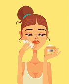 Woman character smear face cream. Vector flat cartoon illustration