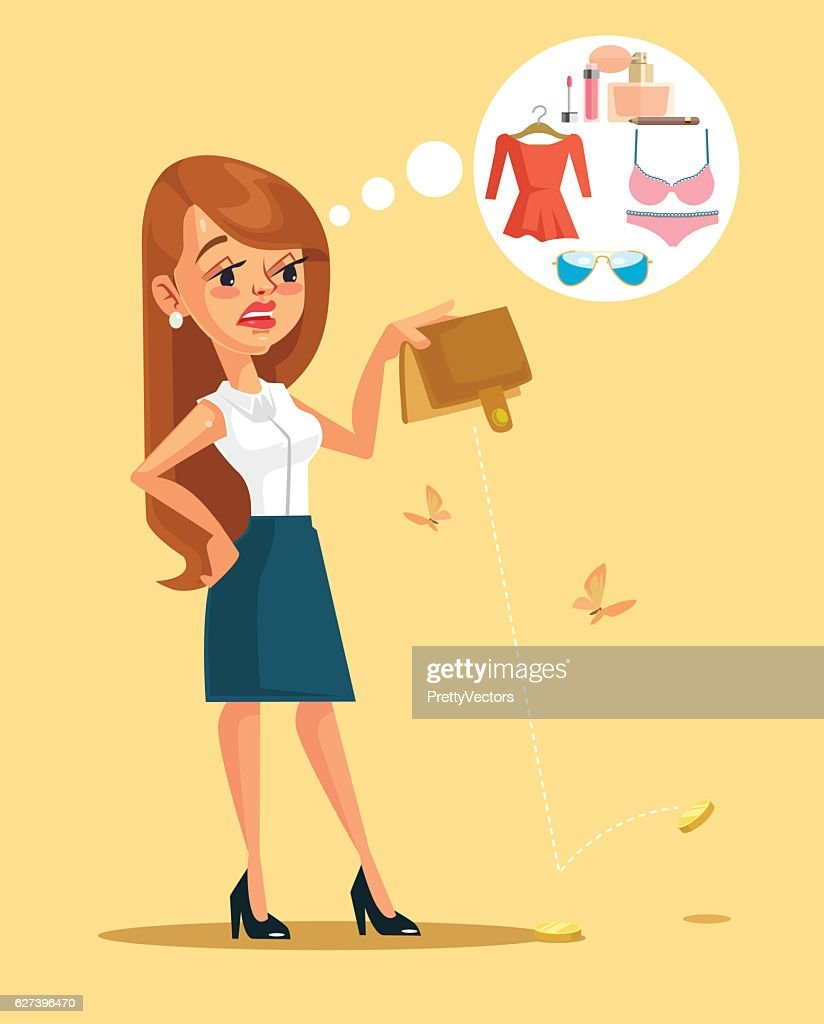Woman character spent all her money. Vector flat cartoon illustration
