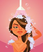 Woman character taking shower. Vector flat cartoon illustration