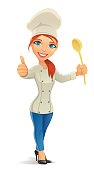 woman chef  with thumb up