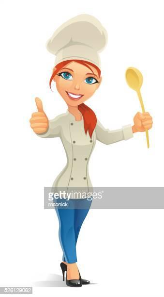 ilustraciones, imágenes clip art, dibujos animados e iconos de stock de chef mujer con botón pulgar levantado - chef