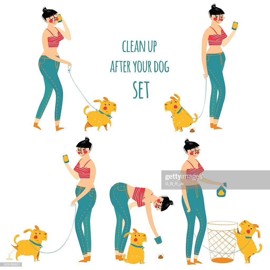 Woman cleaning dog waste, clean up after your pet, vector