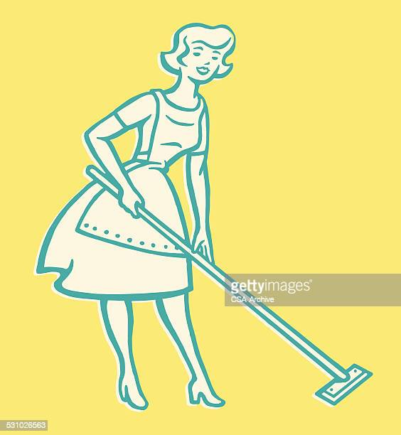 woman cleaning floor - housework stock illustrations, clip art, cartoons, & icons