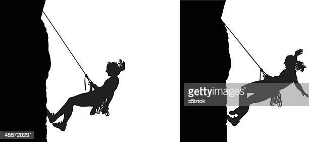 woman climber descending - rock climbing stock illustrations, clip art, cartoons, & icons