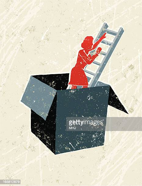 Woman Climbing Ladder Out of a Box