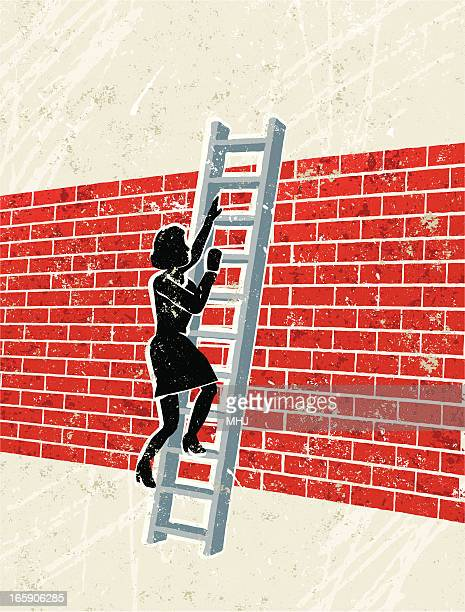 Woman Climbing Ladder Over a brick Wall