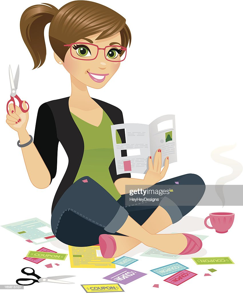 Woman Clipping Coupons : stock illustration