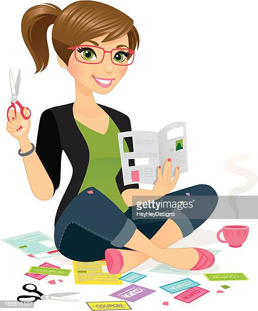 woman clipping coupons - beautiful woman stock illustrations