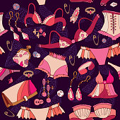 Woman clothes, fashion girl accessories seamless pattern, cosmetics and jewelery. Woman underwear seamless pattern. Fashion and clothing hand drawn background