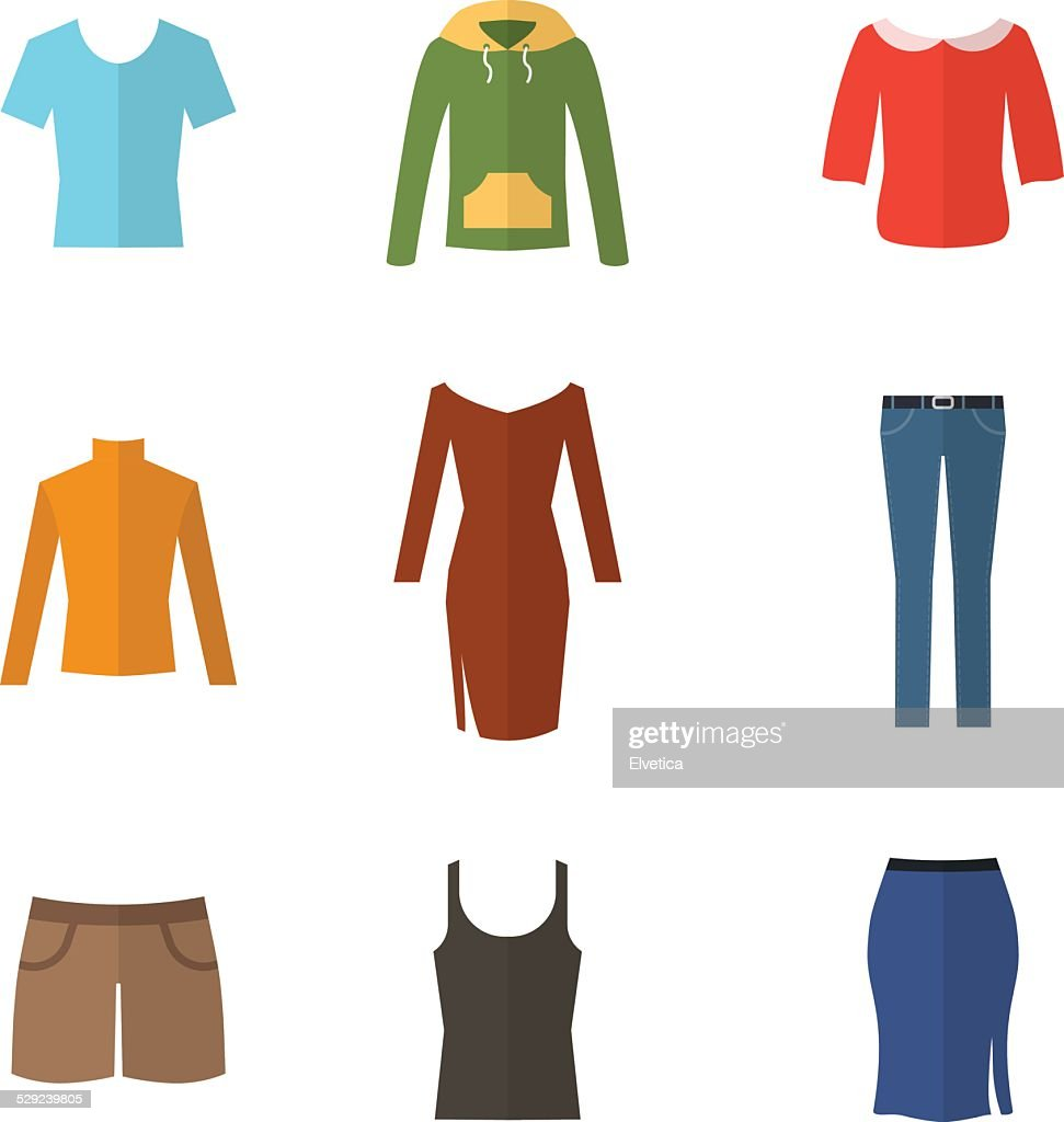 Woman clothing set flat illustration