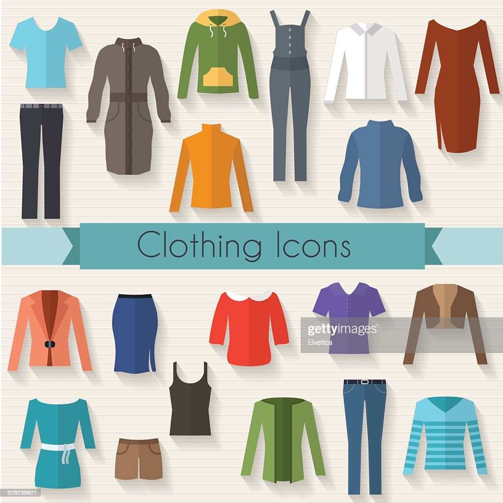 Woman clothing set flat illustration
