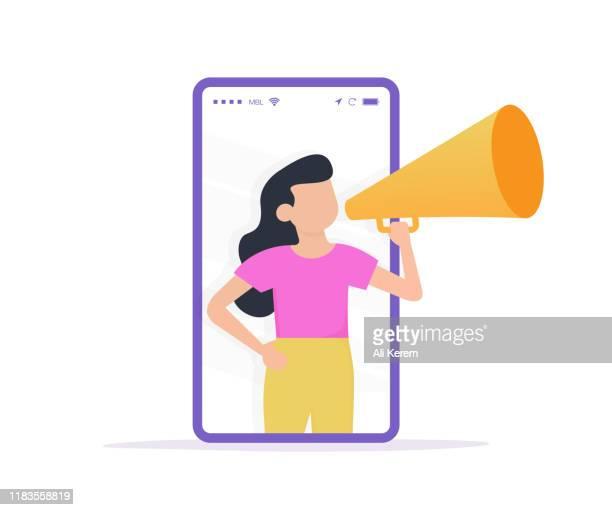 stockillustraties, clipart, cartoons en iconen met vrouw communiceert met een megafone via een smartphone, gerelateerd aan digitale marketing en sociale media - klantbetrokkenheid