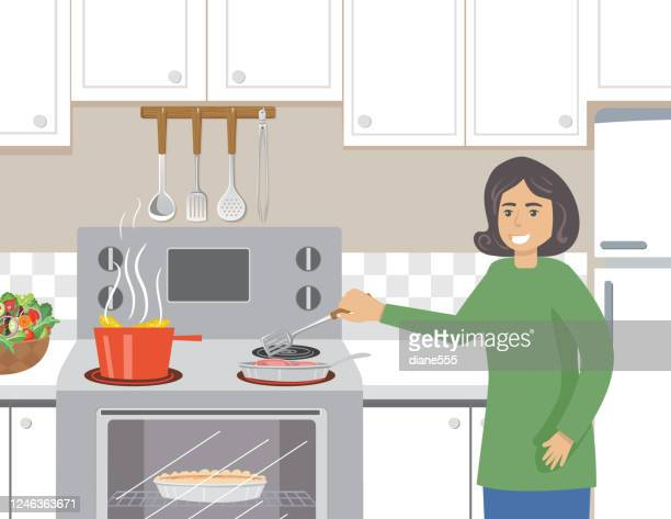 woman cooking dinner in her kitchen - waist up stock illustrations