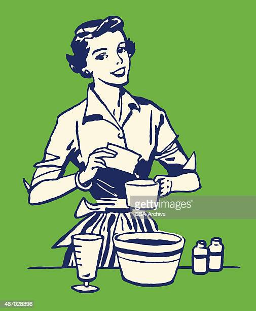 woman cooking - baked stock illustrations, clip art, cartoons, & icons
