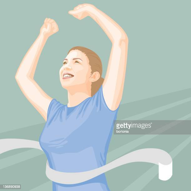 woman crossing the finish line - glühend stock illustrations