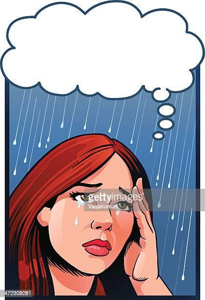 woman crying - sadgirl stock illustrations